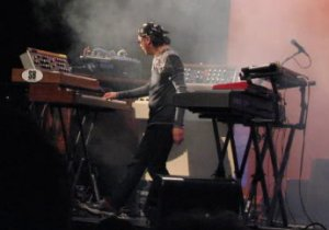 Ryo with his own MiniMoog and a borrowed (?) M400